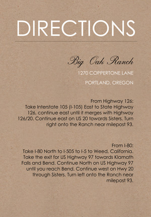 Kraft Wedding Directions Card