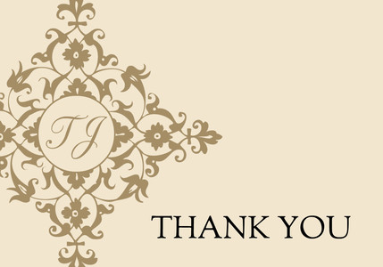 Golden Cream Damask Thank You