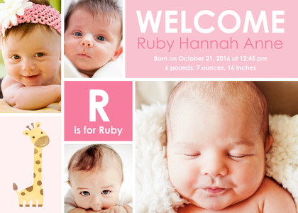 Adorable Baby Girl Birth Announcement