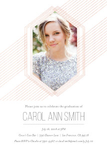 Metallic Modern Geometric Grad Invitation