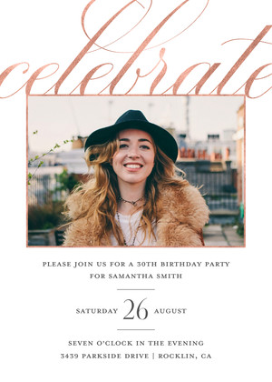 Elegant Photo Birthday Invitation