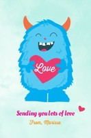 Monster Valentine Heart Card by Pennie Post